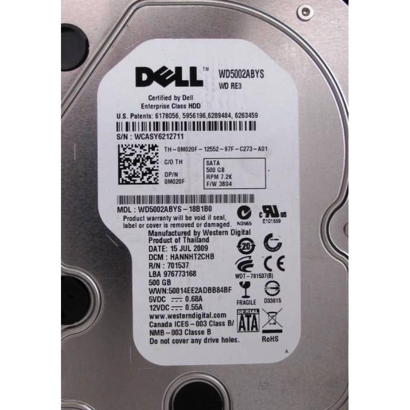 """Disque Dell WD5002ABYS 500Go SATA 7200t 3.5"""""""