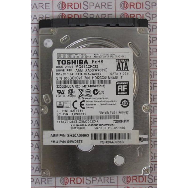 """320Gb SATA 7200t 2.5"""" HDD TOSHIBA MQ01ACF032 IBM 04W0578 or 42T1384"""